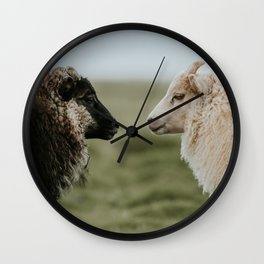 Sheeply in Love - Animal Photography from Iceland Wall Clock