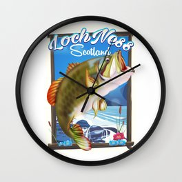 Loch Ness Scotland Fishing travel poster Wall Clock
