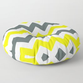 Chevron Pattern In Limelight Yellow Grey and White Floor Pillow