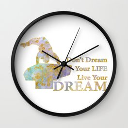 Live Your Dream Gymnastics Design in Watercolor and Gold Wall Clock