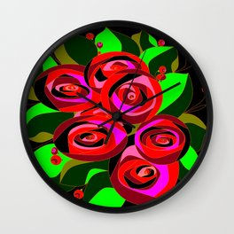 A Bouquet or Roses with a Black Background Wall Clock