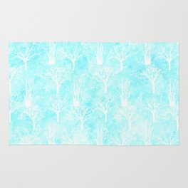 White winter forest- With snow covered trees- pattern on teal Rug