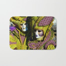 Glamorous Couple With Carnival Costumes Bath Mat