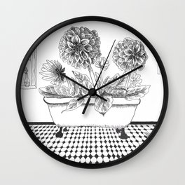 Dahlia Bath Wall Clock