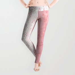 Delicate White Stripe Butterfly Pattern Pink Texure Design Leggings