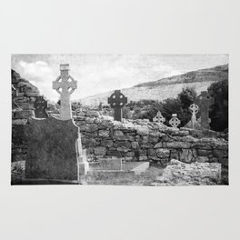 Halloween Graveyard | Horror | Black and White Cemetery | Gothic Graves | Rug