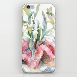 White Calla Lily and Corals Seaweed Watercolor Surreal Botanical Underwater iPhone Skin