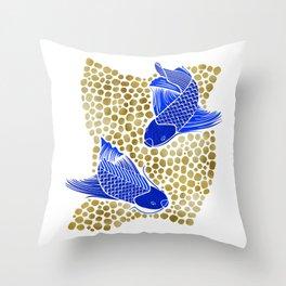 Finn & Finley ~ Blue Koi Fish Gold Background Throw Pillow