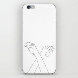 Crossed hands line drawing - Edie iPhone Skin