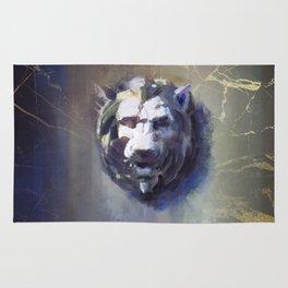 Lion head Black Marble Rug