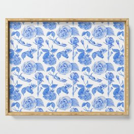 Blue Roses Watercolor Serving Tray