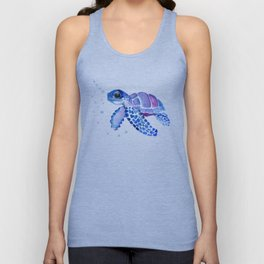 Blue Purple Sea Turtle, Children artwork Unisex Tank Top