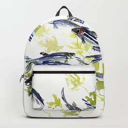 Fish Blue Gray zebrafish, Danio aquarium Aquatic design underwater scene Backpack