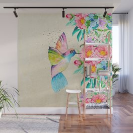 Whimsical watercolor hummingbird and  floral hand paint Wall Mural