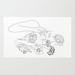 Minimal Line Art Woman with Flowers III Rug