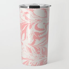 Kuri - spilled ink abstract marble swirl pink and white minimal modern abstract painting ocean sea Travel Mug
