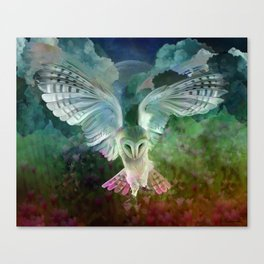 """Owl flight and spring night"" Canvas Print"