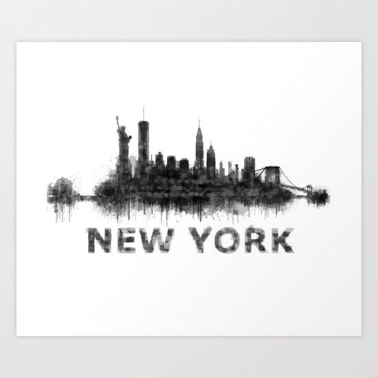 Ny new york city skyline nyc black white watercolor art art print by hqphoto society6