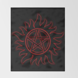Anti Possession Sigil Red Glow Throw Blanket