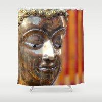 thailand Shower Curtains featuring Thailand Buddha  by Maria Faith Garcia