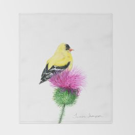 Little Goldfinch by Teresa Thompson Throw Blanket