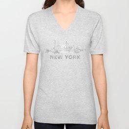 new york nyc city cityscape watercolor white v6 Unisex V-Neck