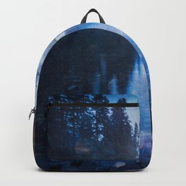 Magical Blue Forest Water Reflection - Nature Photography Backpack