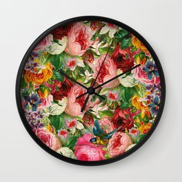 Colorful Floral Pattern   Je t'aime encore Wall Clock
