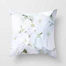 White hortensia flowers Throw Pillow