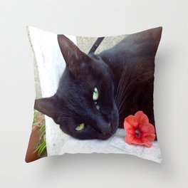 Luna the black queen Throw Pillow