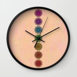 Colorful Rainbow Chakra Mandala , Yoga & Meditation Seven Sacred Mandalas Flower Painting Wall Clock