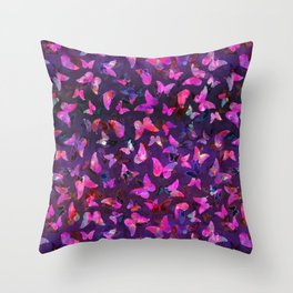 Butterfly Forest Purple Throw Pillow