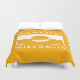 Milwaukee Wisconsin - Gold - People's Flag of Milwaukee Duvet Cover