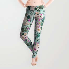 JUNGLE ROMANCE Mint Blush Tropical Floral Leggings