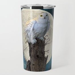 White Snowy Owl Bird Moon Blue A141 Travel Mug