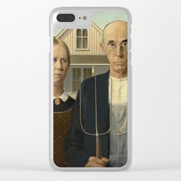 American Gothic Oil Painting by Grant Wood Clear iPhone Case