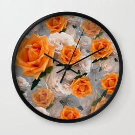 CORAL ROSES AND CHERRY BLOSSOMS Wall Clock