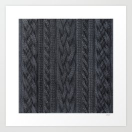 Charcoal Cable Knit Art Print