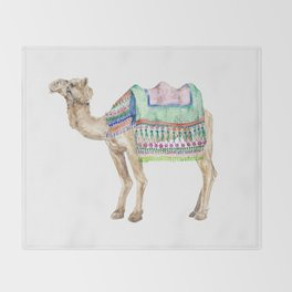 Boho Camel Tassel India Morocco Camel Watercolor Throw Blanket
