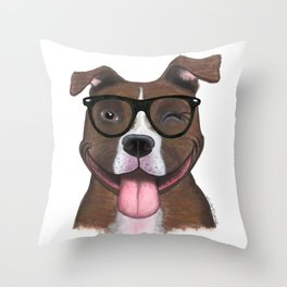 Hipster Pit Bull Throw Pillow