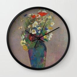"Odilon Redon ""Vision - vase of flowers"" Wall Clock"