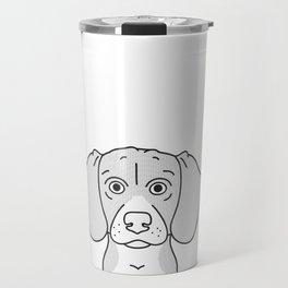 Beagle Portrait Print -Black and White Halftone Travel Mug