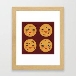 Kawaii Chocolate chip cookie Framed Art Print