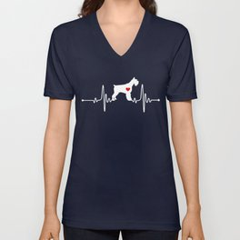 Giant Schnauzer dog heartbeat Unisex V-Neck