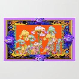 Lilac Purple Color Cumin Iris Garden Art Rug