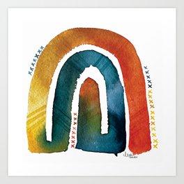'connected bow' rainbow Art Print