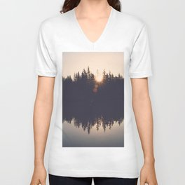 Wooded Lake Reflection  - Nature Photography Unisex V-Neck