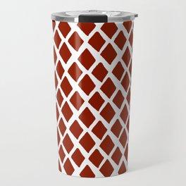 Rhombus Red And White Travel Mug