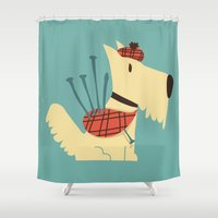 terrier Shower Curtains featuring Scottish  Terrier - My Pet by Picomodi