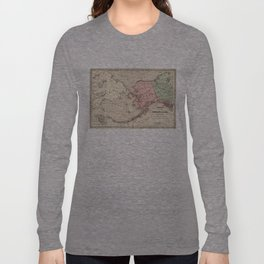 Vintage Map of Alaska and Russia (1869) Long Sleeve T-shirt